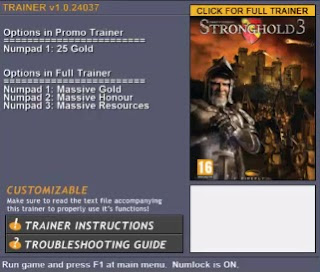 Stronghold 3 Trainer Hack ver. 1.0 Free Download