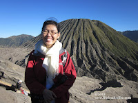 standing on Mt Bromo with Mt Batok as background