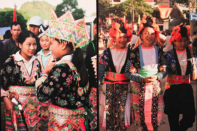 Lantern People, Vietnam, Tribal dress, Vietnamese Hill Tribe costume, headdresses Vietnam, embroidery, ethnic style, tribal fashion