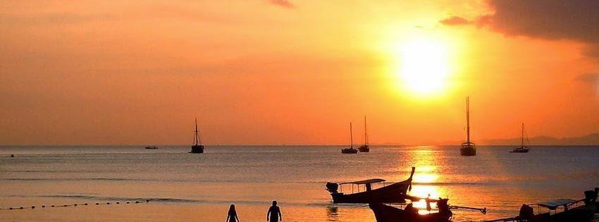Couverture facebook avec coucher de soleil thailande
