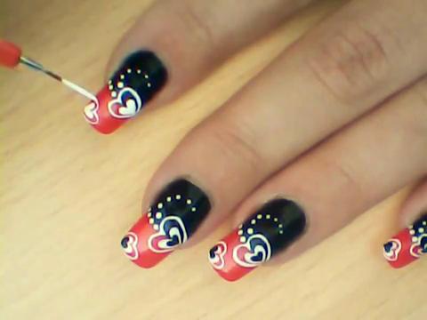 Manikir-obuka-tutorijal-3-(crveno-crni-nail-art-nokti)-011