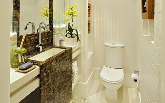 Mármore em lavabos e banheiros – veja bancadas e pisos com diversos tipos de  -> Cuba Banheiro Branca