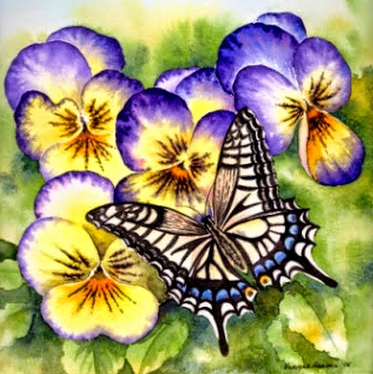 cuadros-de-mariposas-con-flores