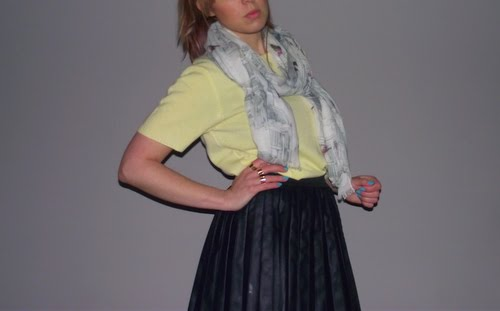 yellow-jumper-leather-skirt-ted-baker-scarf