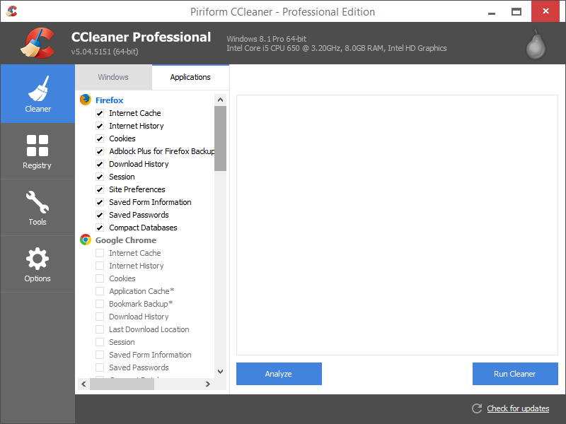 Cleaner pada CCleaner