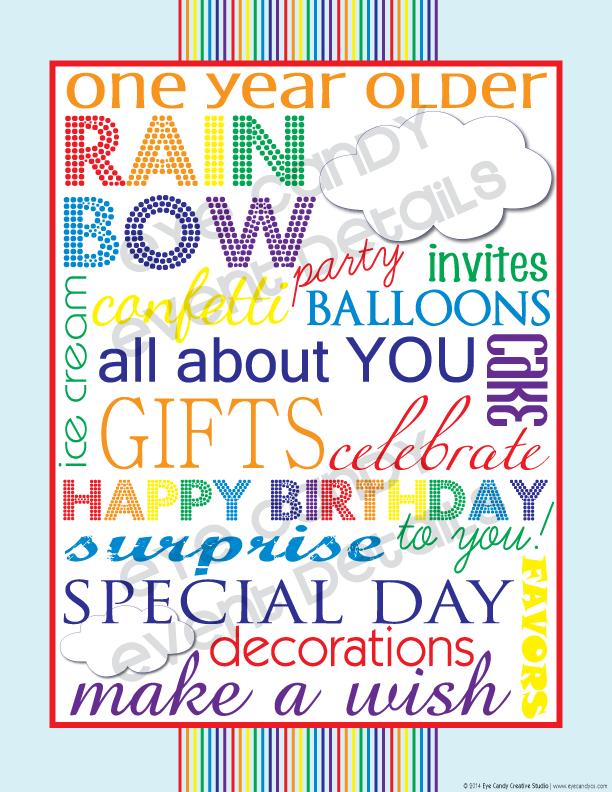 birthday subway art, rainbow party subway art, happt birthday subway art
