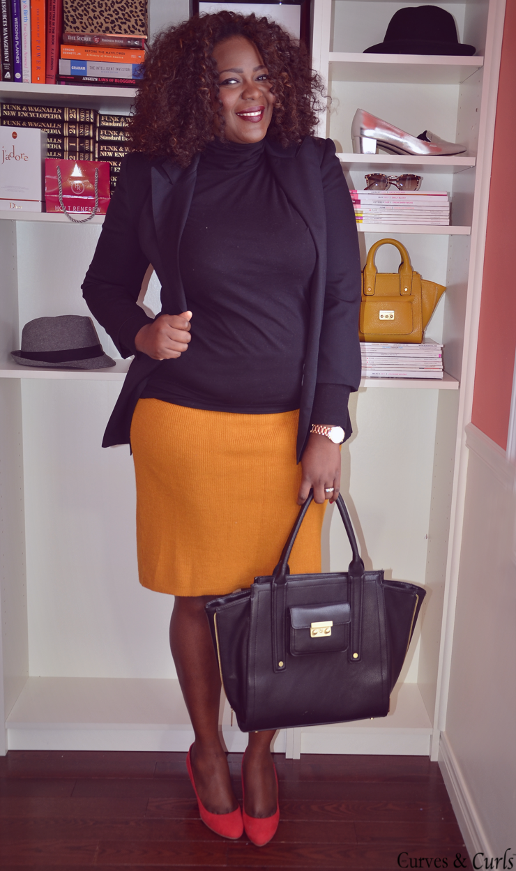 curvy fashion for women, how to wear a mustard skirt, one item 3 ways