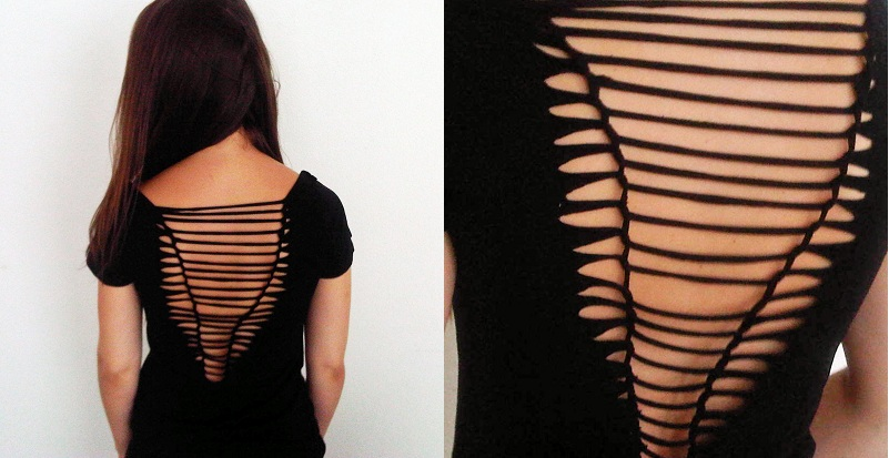 Fashion mind diy cut out weaved back shirt for Cut and design t shirts