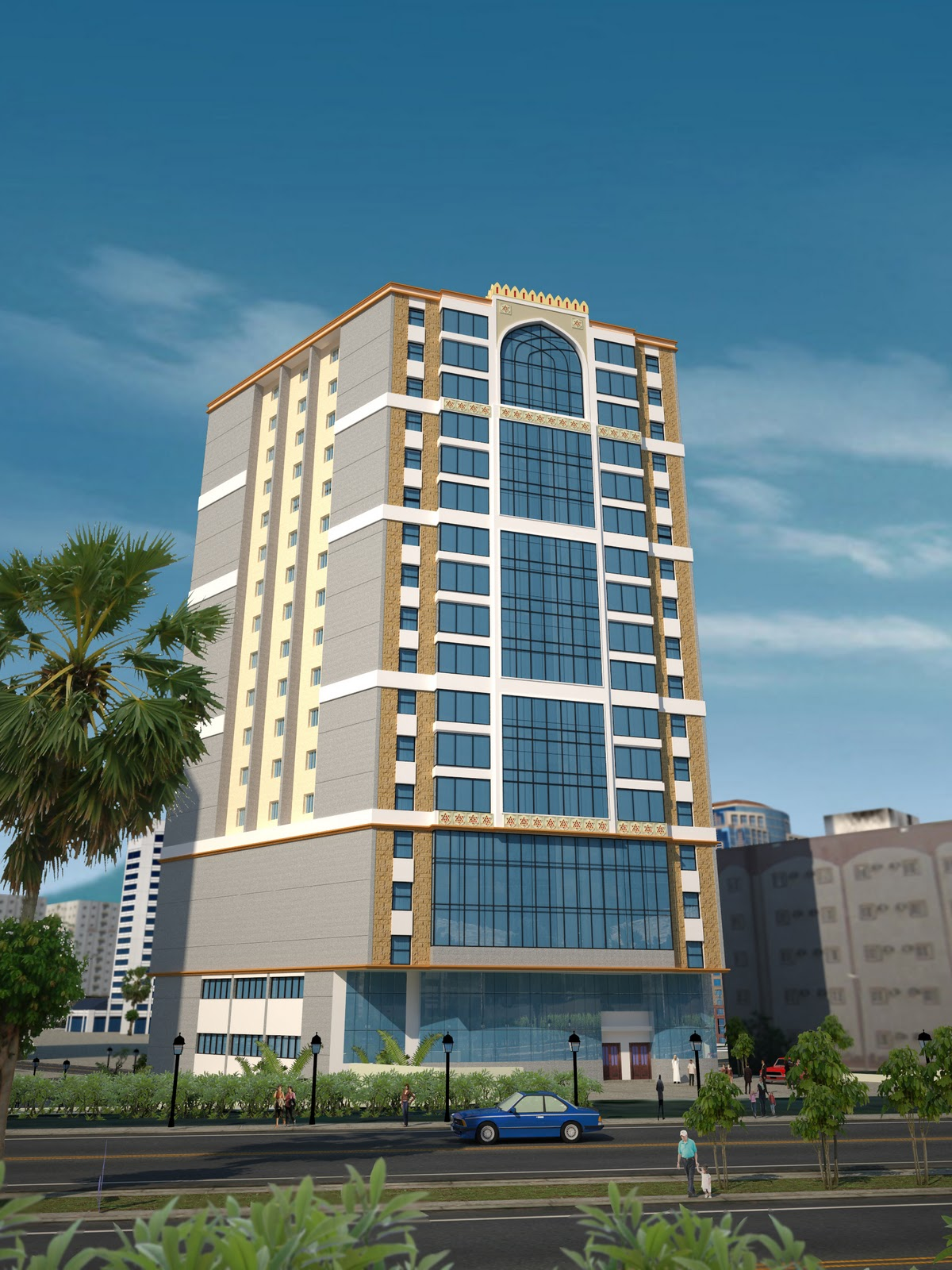 D Front Elevation Of Commercial Building : Casatreschic interior d front elevation of plaza tower