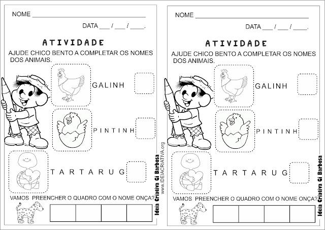 Atividade letra final educação infantil Chico Bento Colorir