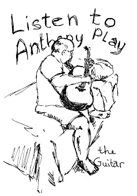 Anthony playing guitar, pen and ink, by Ana Tirolese ©2012