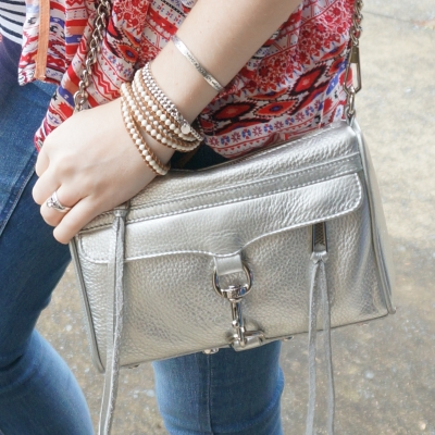AwayFromTheBlue Blog | Rebecca Minkoff metallic silver mini MAC with skinny jeans