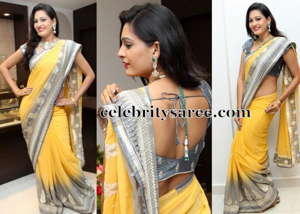 Shweta Jadhav Mustard Designer Sari
