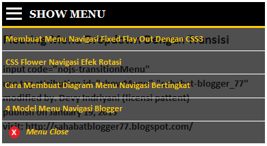 Menu Navigasi Dropdown