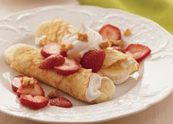 Banana and Strawberry Crepes