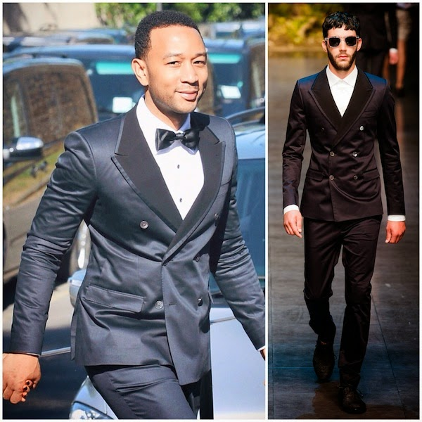 John Legend in Dolce & Gabbana double breasted tuxedo Spring Summer 2014 - Kim Kardashian & Kanye West Wedding 24 May 2014 Florence Italy