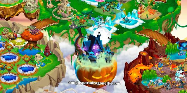 imagen de la isla halloween de dragon city