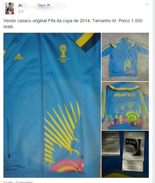 Casaco de Voluntário da Copa mais caro que um gol da Alemanha