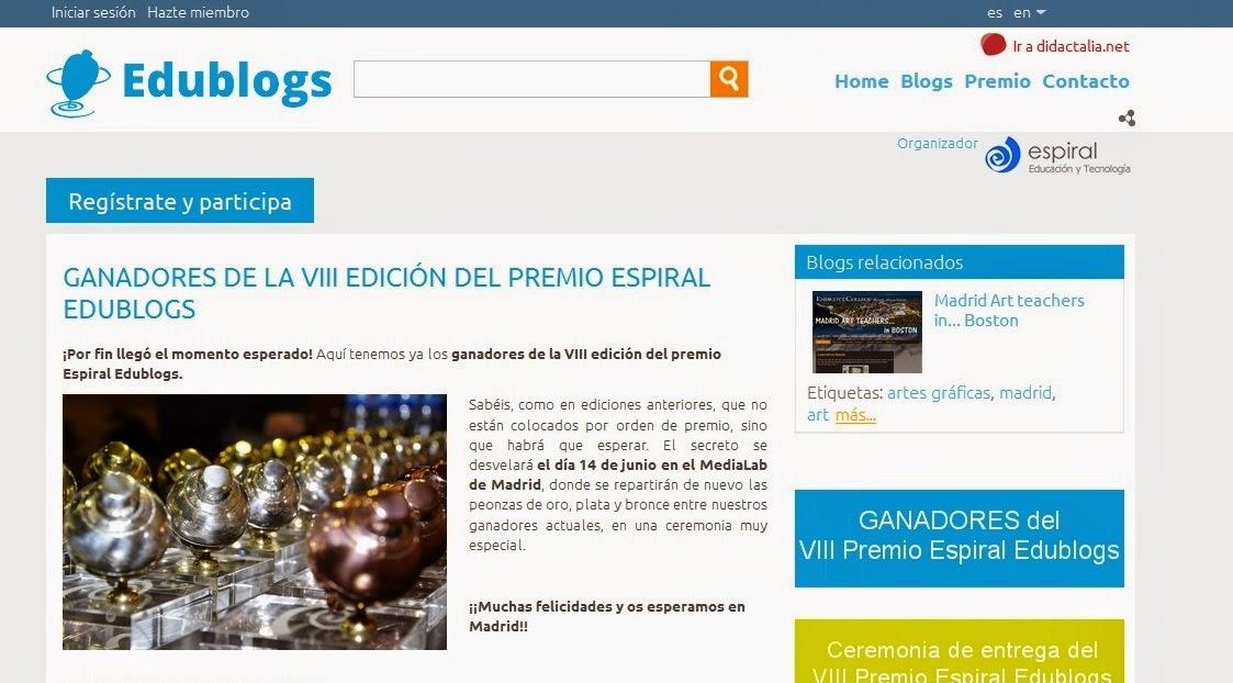 http://espiraledublogs.org/comunidad/Edublogs/recurso/ganadores-de-la-viii-edicion-del-premio-espiral-ed/32392934-1542-460b-a916-4a1e8c8f781c