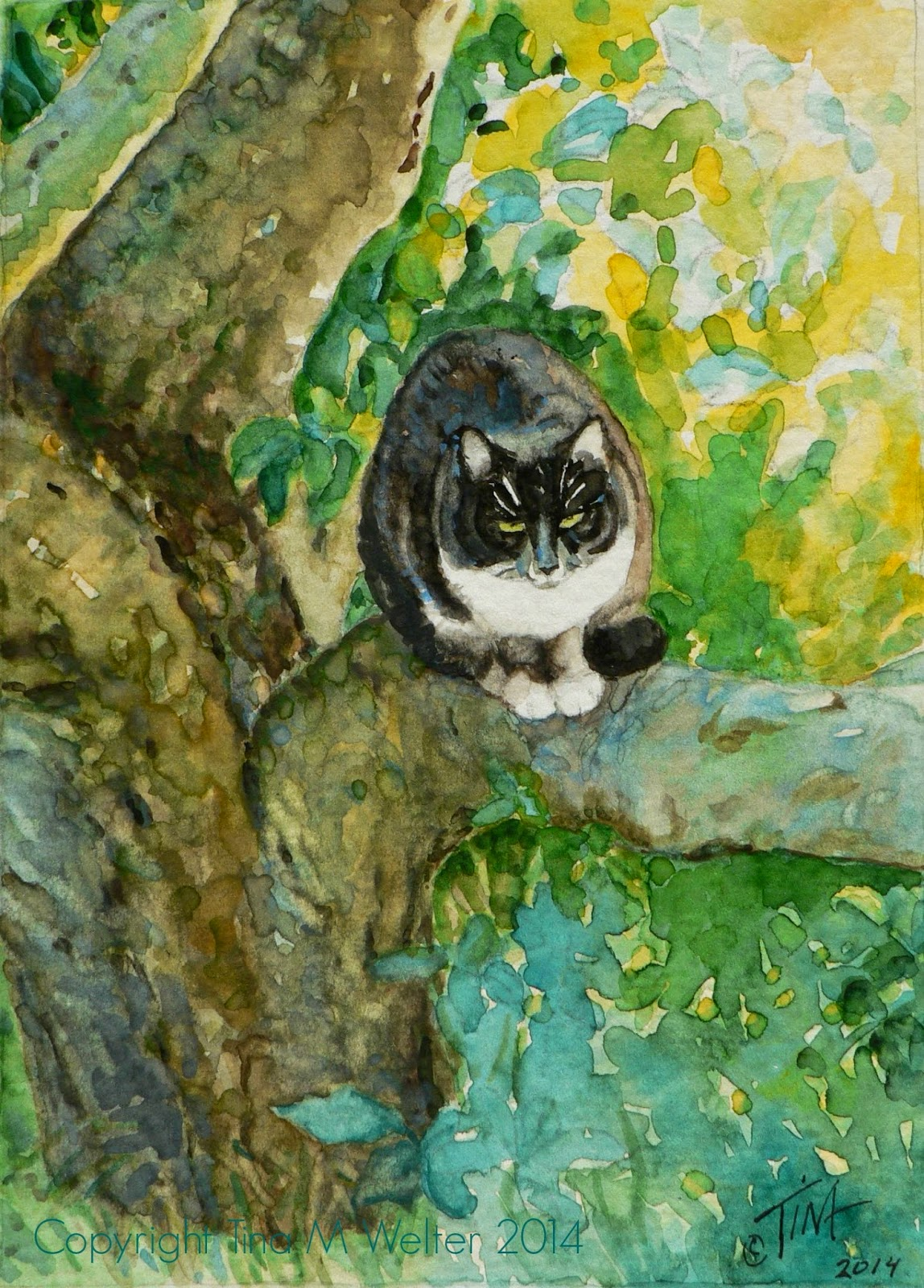 """Up A Tree"" 7""x 5"" watercolor on 140lb paper, ©2014 Tina M Welter"