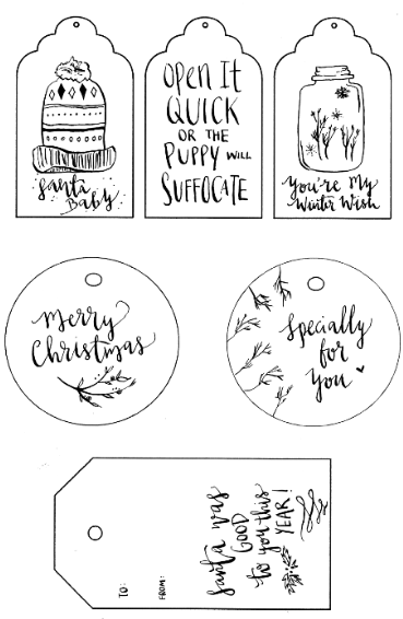 Nerdy image pertaining to printable christmas tags black and white