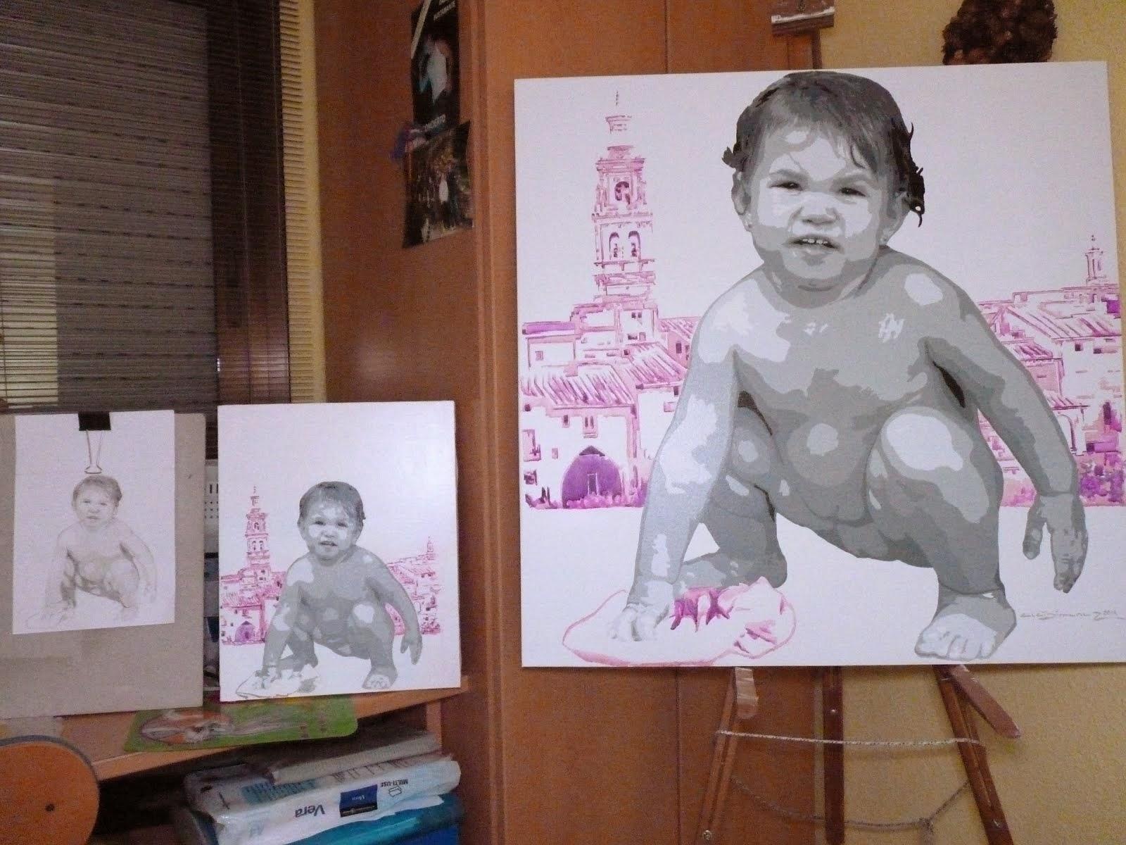 Bocetos y cuadro