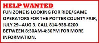Ride/Game Operators Wanted