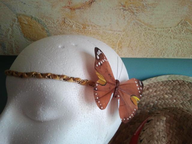 mariposa, trenza, diadema, cinta, hippie, amarillos, dorados, marrones