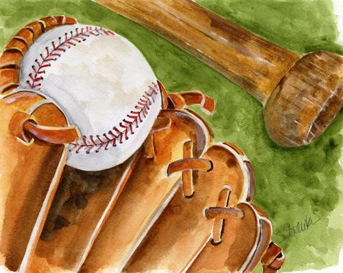Baseball Glove Paint : Paintings challenge  baseball watercolors