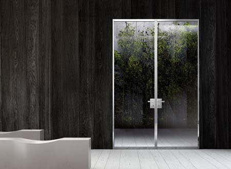 Modern interior glass doors commercial with stainless steel frame