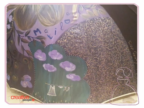 Motivos campestres en la decoración del paraguas pintado a mano de Sylvia Lopez Morant