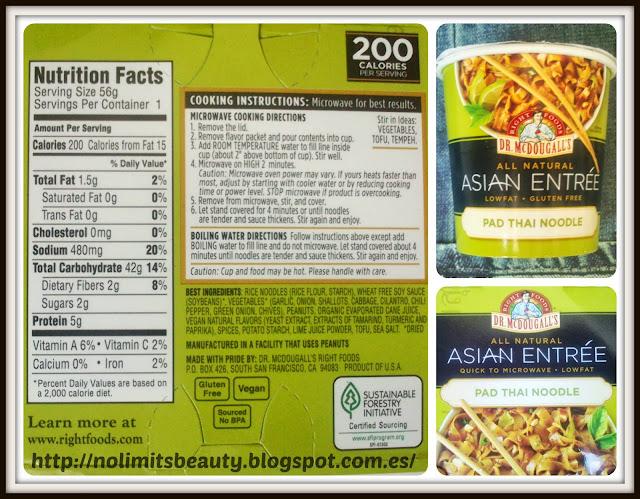 iHerb: Pad Thai Noodles - información nutricional e ingredientes
