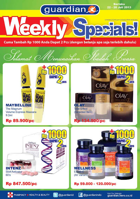 Katalog Promo Guardian Weekly Specials Terbaru Periode 22 – 28 Juli 2013