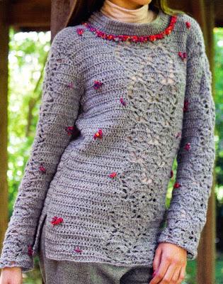 construye este pull gris con detalles en colores (talle 1)