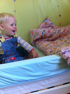 Eliza's bed with her duvet cover by Stepford Stitchers and bed guard by Purple Daisies