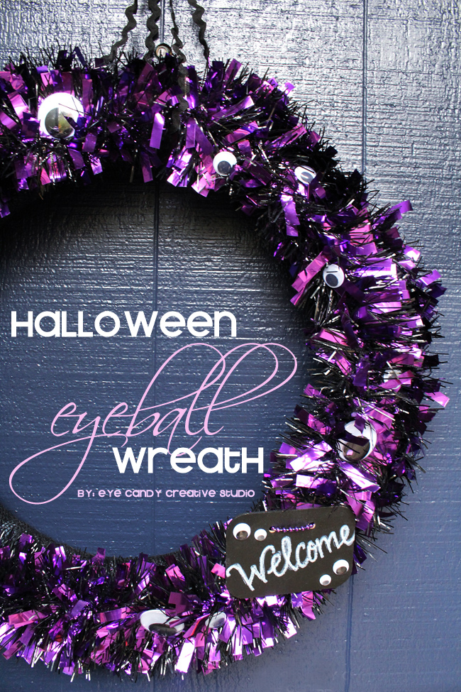easy wreath, halloween craft, purple wreath, googly eyeballs, front door wreath