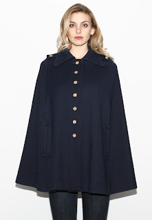 Vintage 1970's navy blue wool military style cape with front gold button closure.
