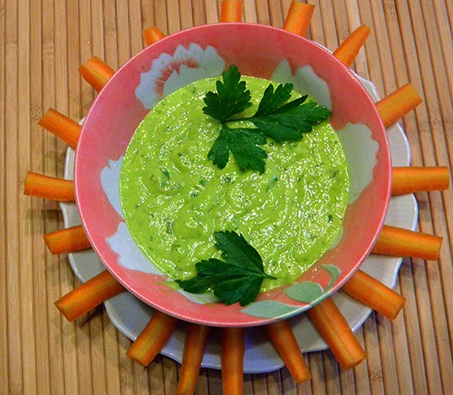 Fava Bean Pesto with Carrot Sticks