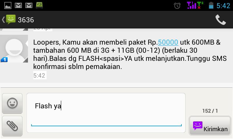 10. Kemudian Anda akan mendapat sms dari 3636 seperti gambar dibawah ...