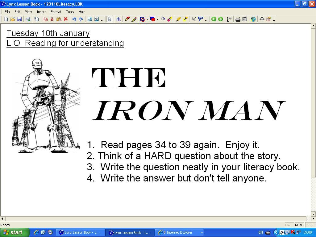 iron man ted hughes homework