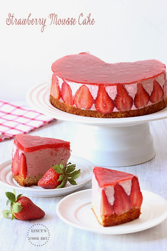 Eggless Strawberry Mousse Cake