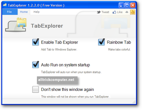 Setting Tab Explorer