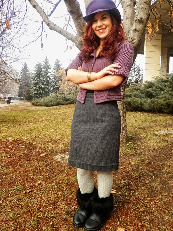 Personal style photo featuring a handmade straight skirt, cable knit cardigan and vintage accessories