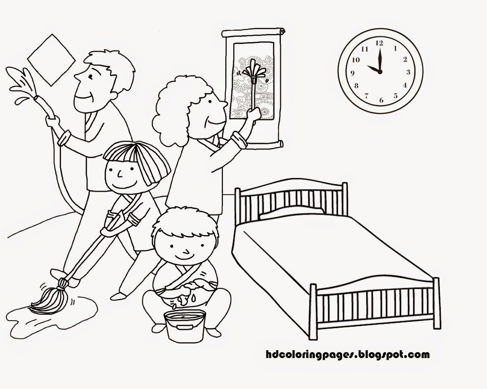 House Cleaning Family Coloring Pages