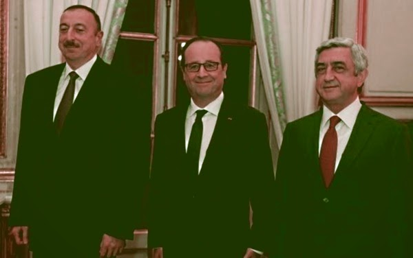 Алиев, Олланд и Саргсян на встрече в Париже