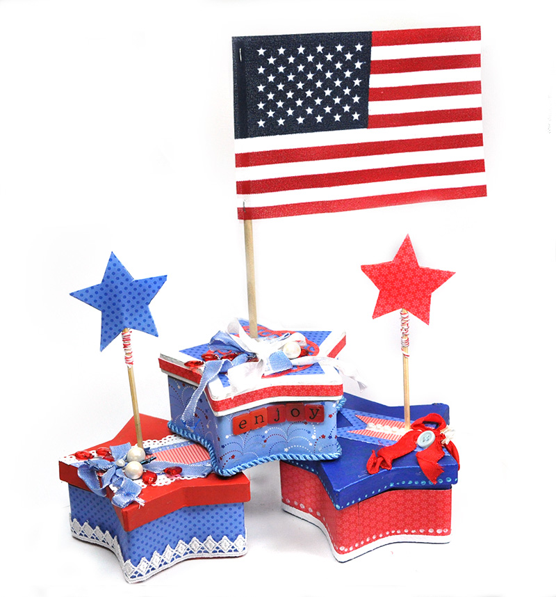 Scrap escape patriotic star centerpiece
