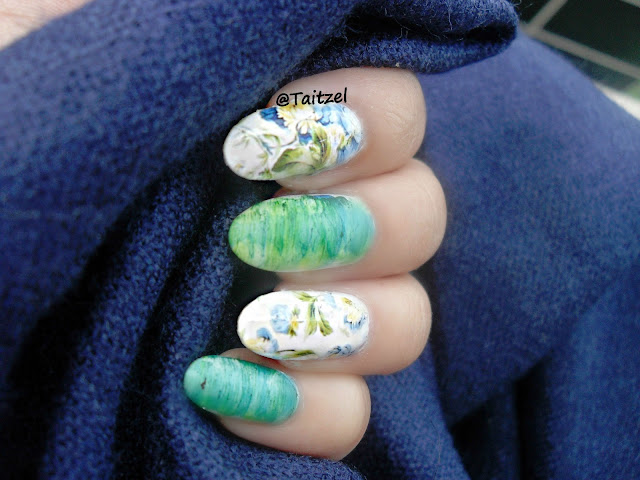 Model manichiura cu oja alba si stikere - water decals nail design