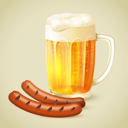 Jarra de cerveza y dos salchichas - Vector