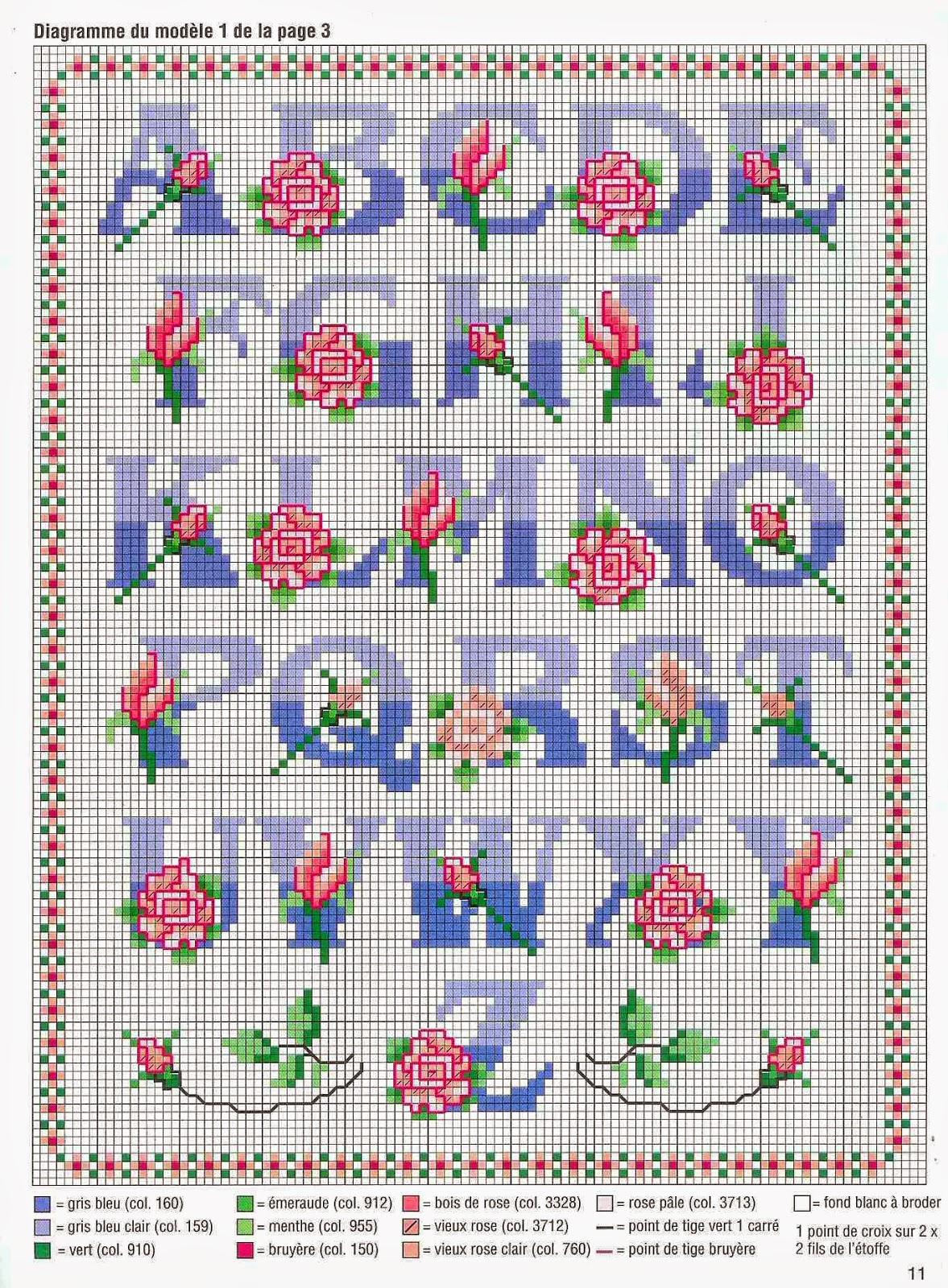 Grande raccolta di schemi e grafici per punto croce free for Ricamo punto croce alfabeto