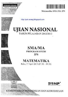 Naskah Soal UN Matematika SMA IPS 2013 Paket 1